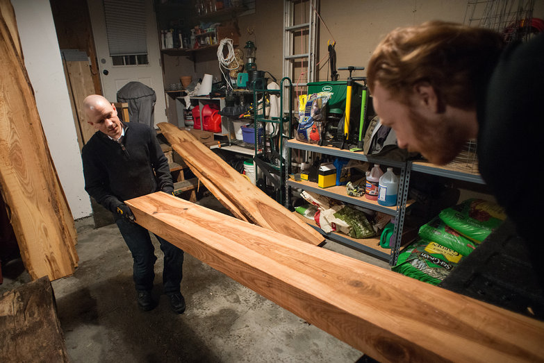 Kevin & Tyler Unloading Ash Boards