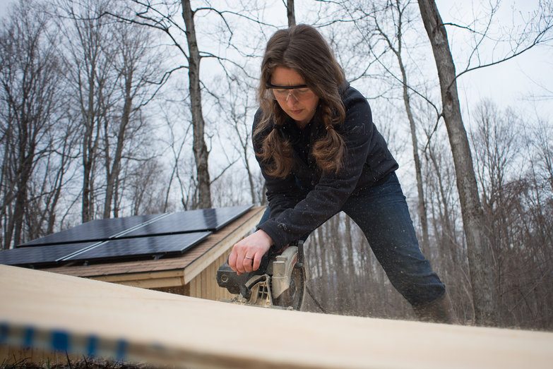 Tara Cutting Plywood for Solar Shed Interior Sheathing