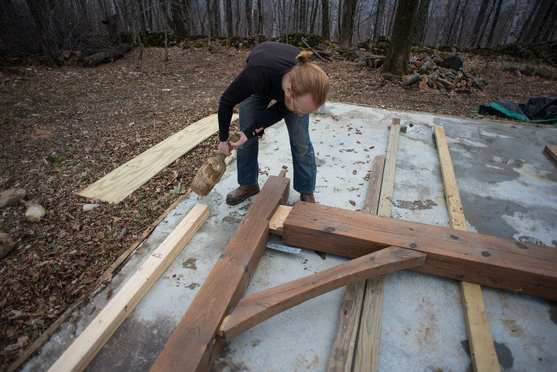 Tyler Assembling First Bent for Cottage Timber Frame