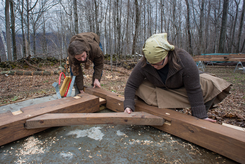 Tara & Jenna Assembling Cottage Timber Frame Bent