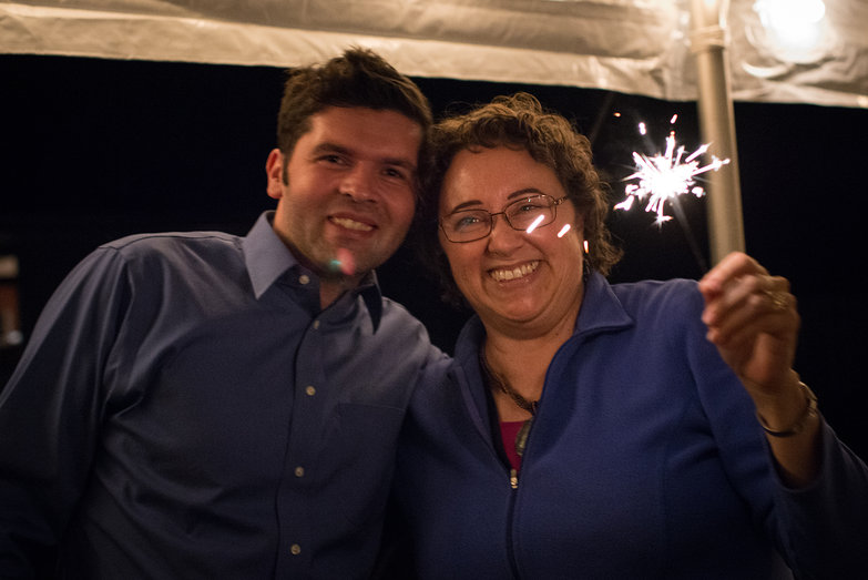 Ivica & Lisa (Mom) with Sparklers