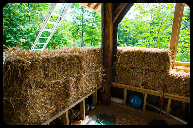 Second Row of Straw Bales Installed