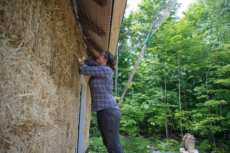 Tara Stuffing Strawbale Wall w/ Pitchfork Support