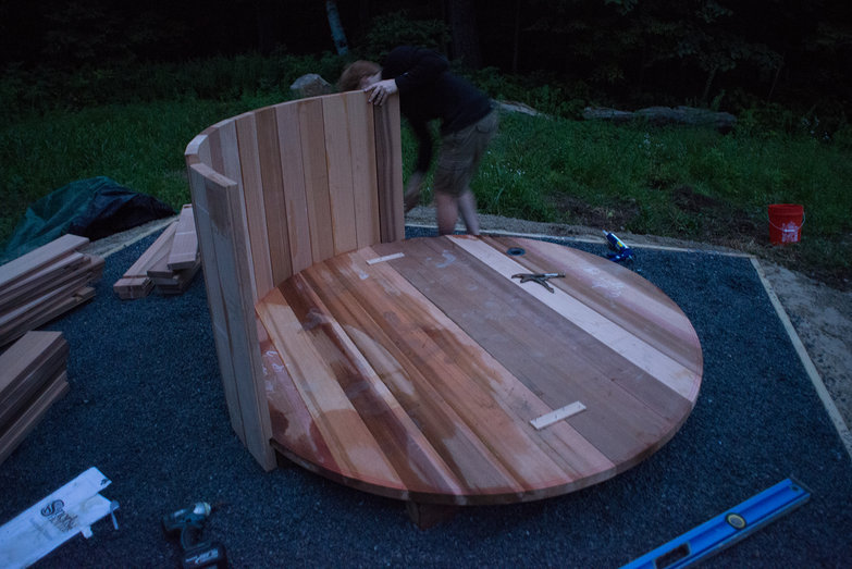 Tyler Assembling Staves on Wood Fired Hot Tub