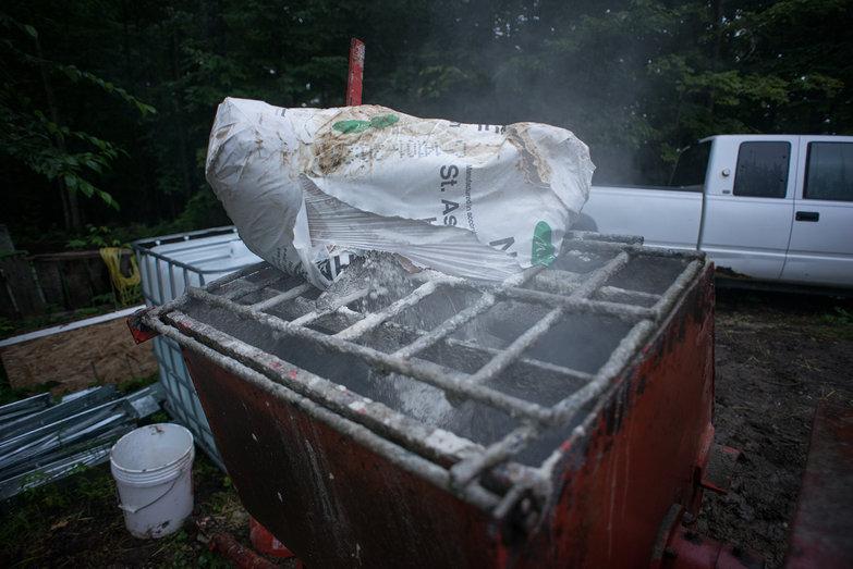 Lime Falling into Mortar Mixer