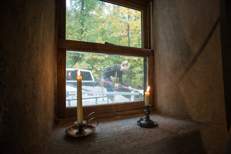 Straw Bale Cottage Window SIll with Candles