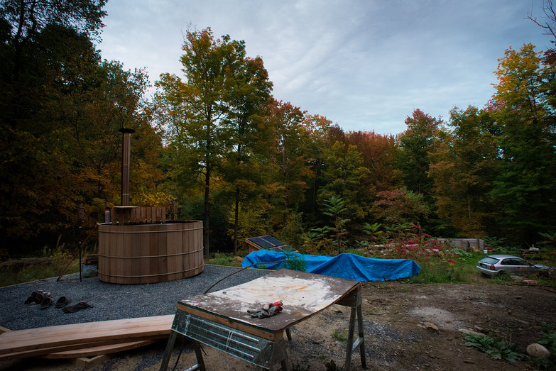 Hot Tub & Autumn Color on our Land