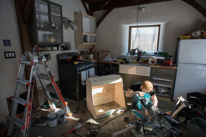 Tyler Constructing Face Frame for Vent Hood Cabinet