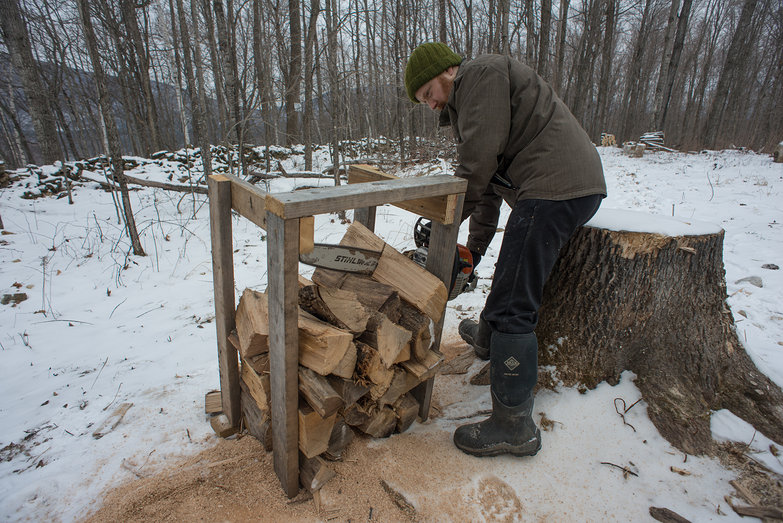 Tyler Chainsawing Firewood in Homemade Jig