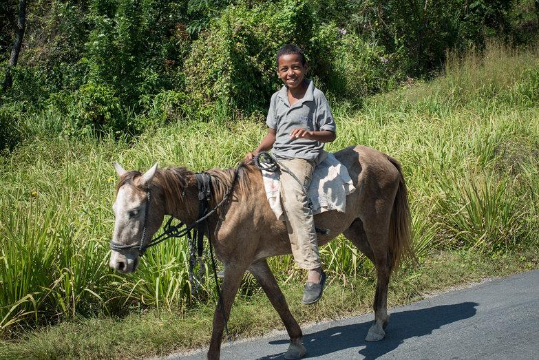 Roatan Boy on Horse