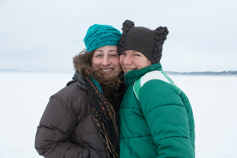 Tara & Joanna on Frozen Lake Champlain