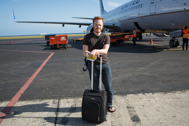 Tyler on Tarmac in Roatan