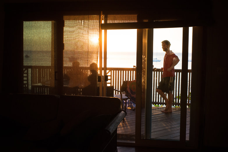 Us Watching Roatan Sunset