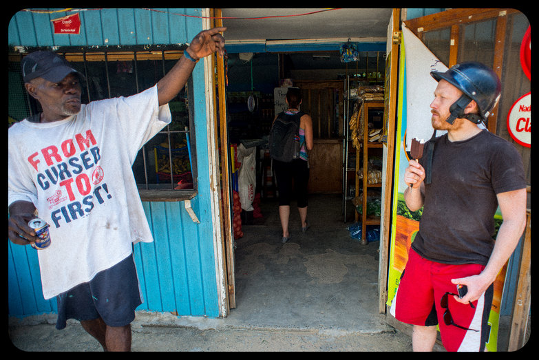 Tyler Getting Directions from Roatan Islander