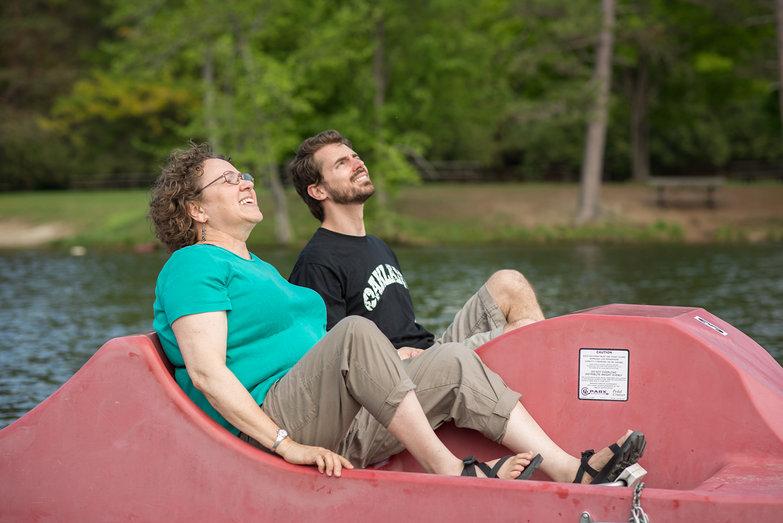 Lian & Mom/Lisa Paddleboating on Lake Shaftsbury