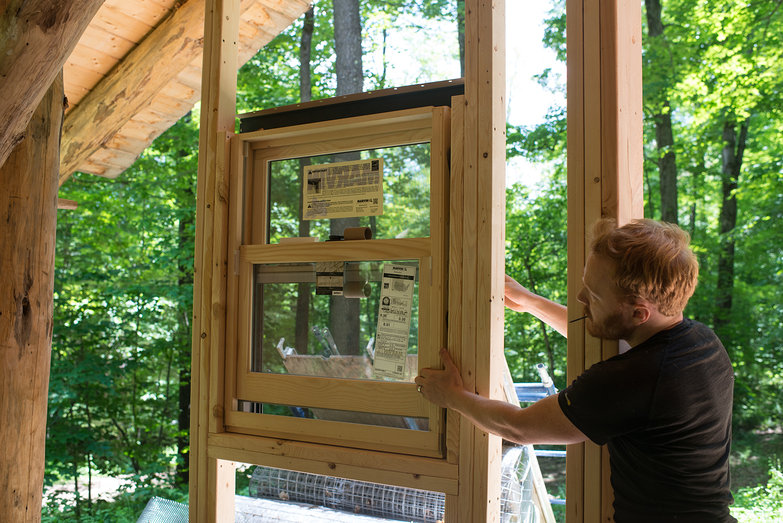 Tyler Testing Window in Framing
