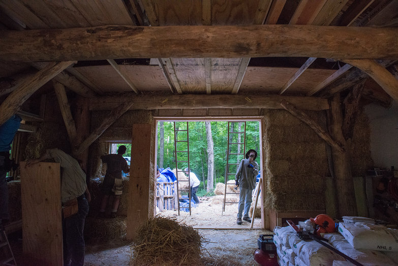 Looking South Inside Strawbale Workshop