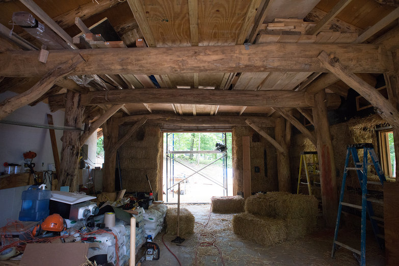 Grindbygg Timberframe Strawbale Workshop in Progress