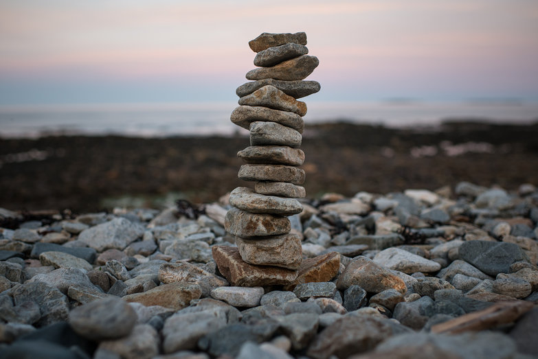 Acadia National Park Seawall Rock Cairn at Dusk