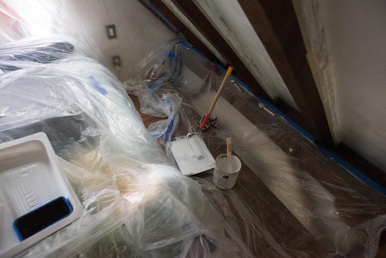Loft Ceiling Painting Setup
