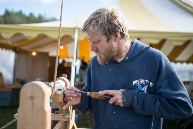 Common Ground Country Fair Wood Worker Carving with Pole Lathe