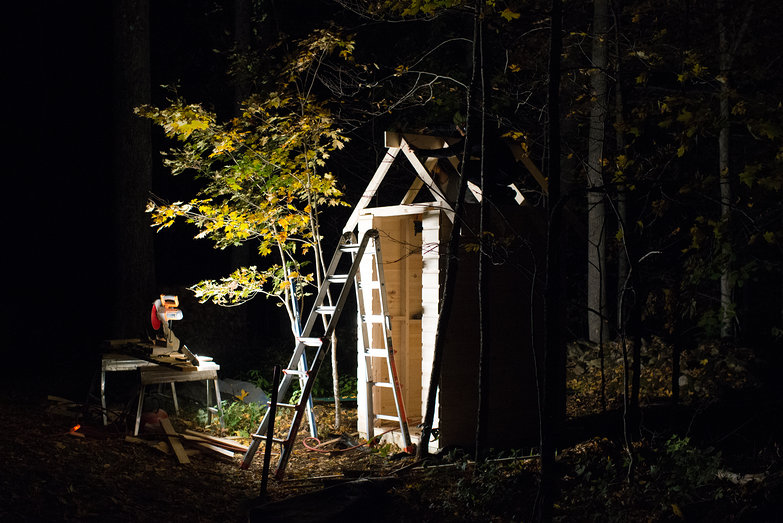 Outhouse Under Construction in the Forest