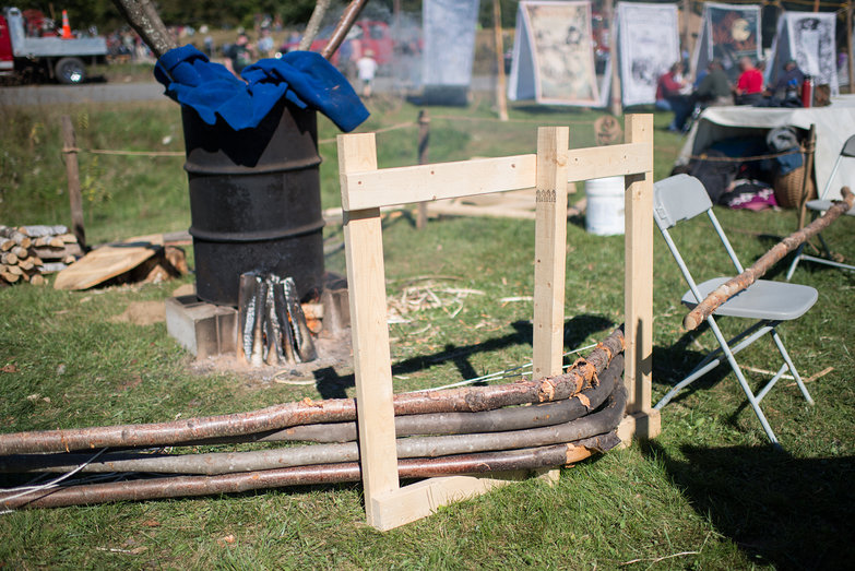 Steam Bending Poles at Common Ground Country Fair