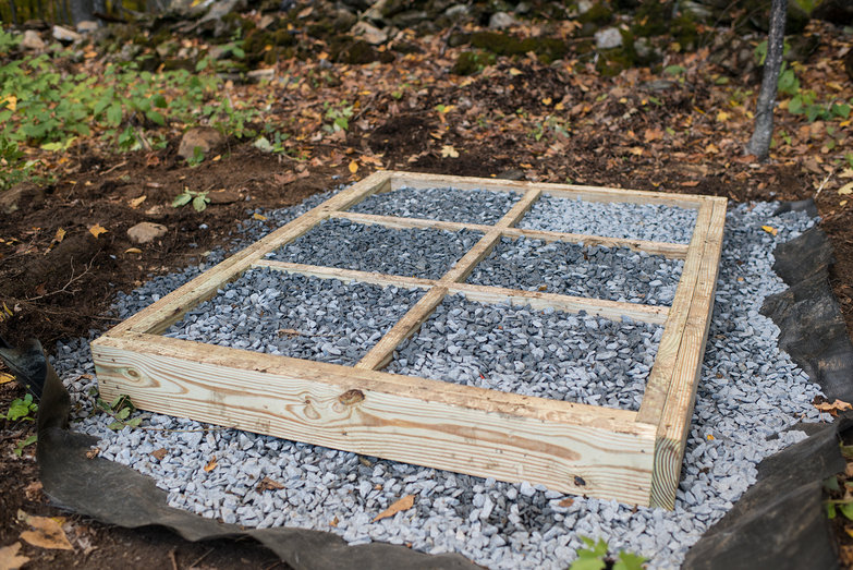 Outhouse Floor Framing w/ Stone Base