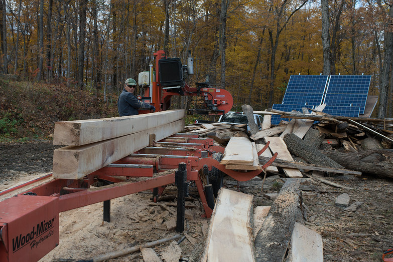 Dave Milling Wood with WoodMizer Portable Sawmill