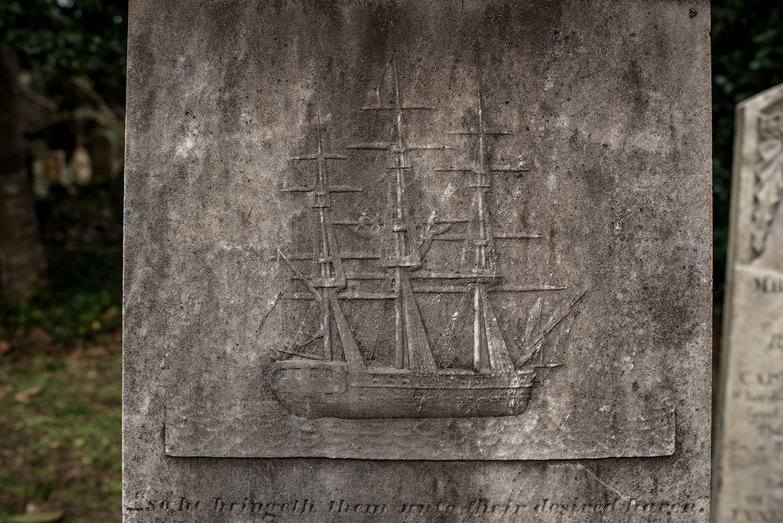 Sailing Ship on Gravestone