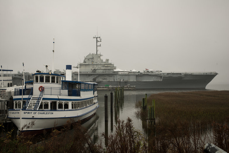 Spirit of Charleston & USS Yorktown at Patriot's Point