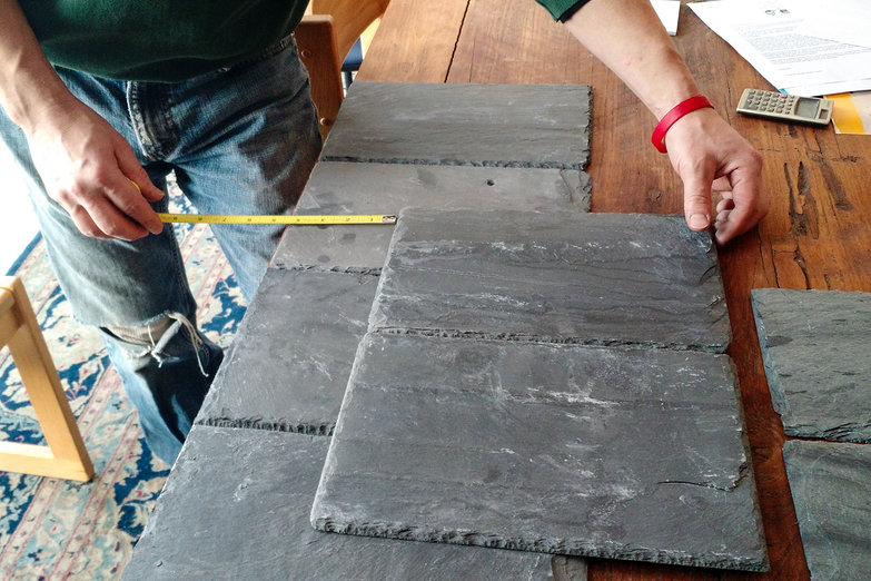 Laying out Slate Roofing Tiles