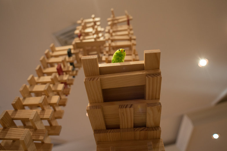 Chick on a Wooden Toy Tower
