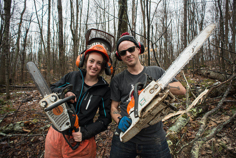 Melissa & Ian with Chainsaws
