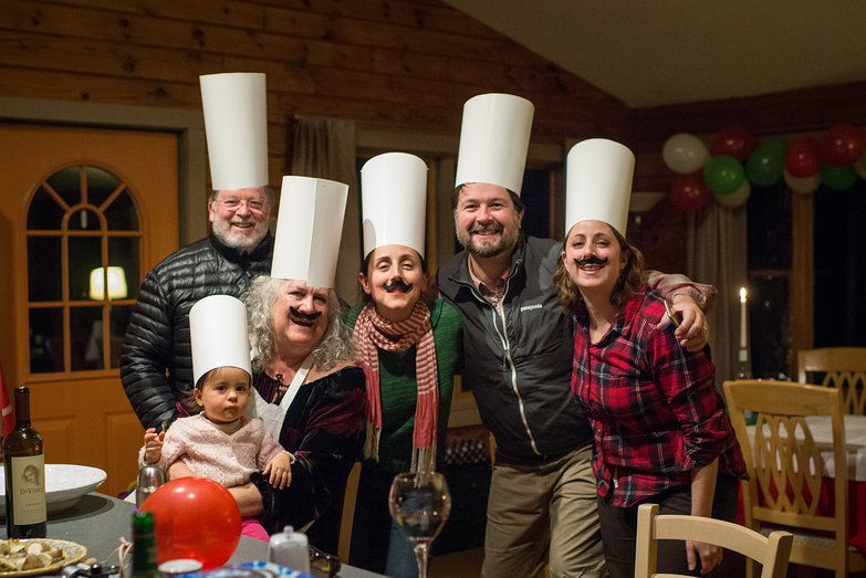 The Maple Hill Hooders (Charlie, Olivia, Becky, Hercilia, Jeremy & Tara) Dressed as Italian Chefs for Tyler's Italian-Themed Birthday