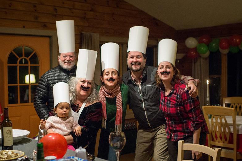 The Maple Hill Hooders (Charlie, Olivia, Becky, Hercilia, Jeremy & Tara) Dressed as Italian Chefs for Tyler's Italian-Themed Birthday
