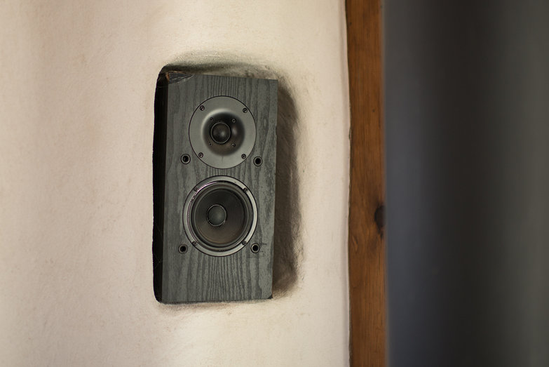 Left Speaker in Tiny Straw Bale Cottage Stereo System