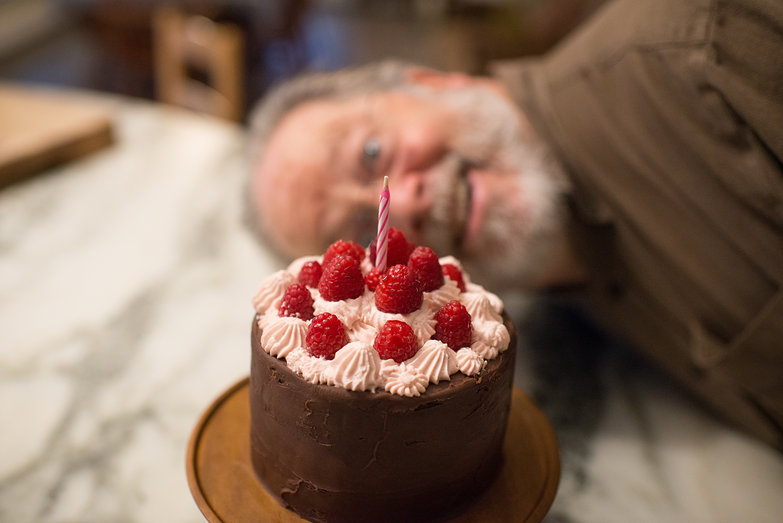 Chocolate Raspberry Birthday Cake (Charlie Photobomb)