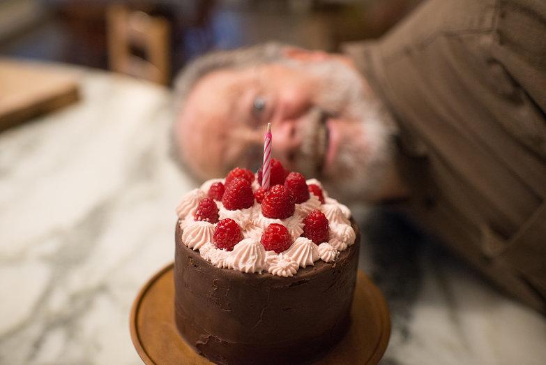 Chocolate Raspberry Birthday Cake (Charlie Photobomb)