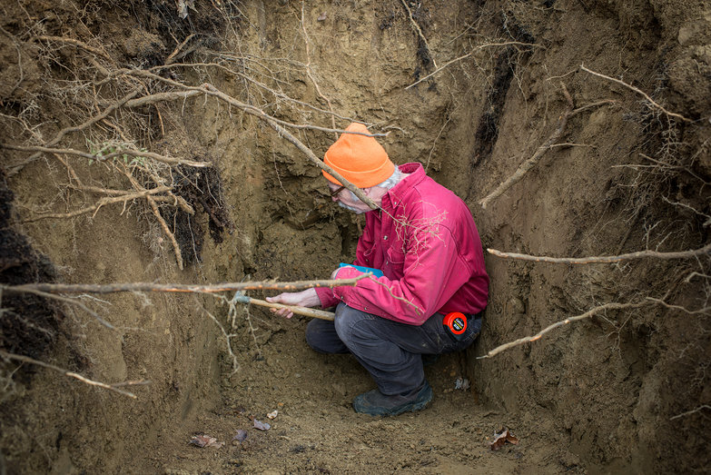 Chris in Septic System Test Pit