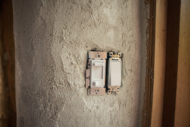 Light Switches Installed in Workshop Entryway