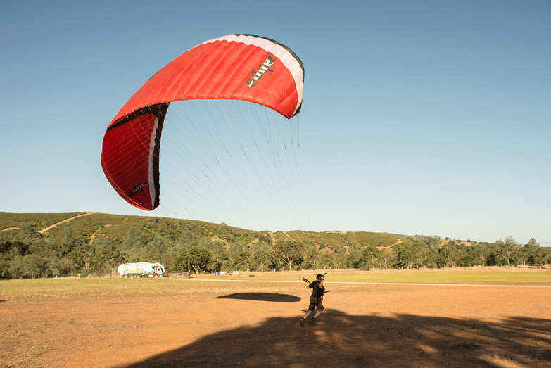 Tyler with Paragliding Wing, Being Towed