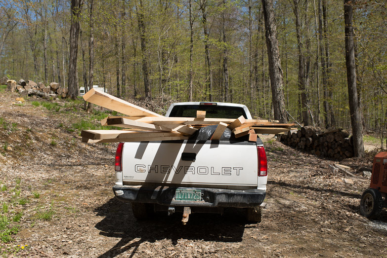 Truck Loaded with Wood to Put in Wood Storage