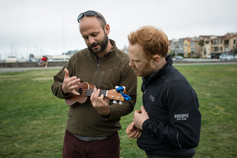 Joe Teaching Tyler Ukelele in Golden Gate Park