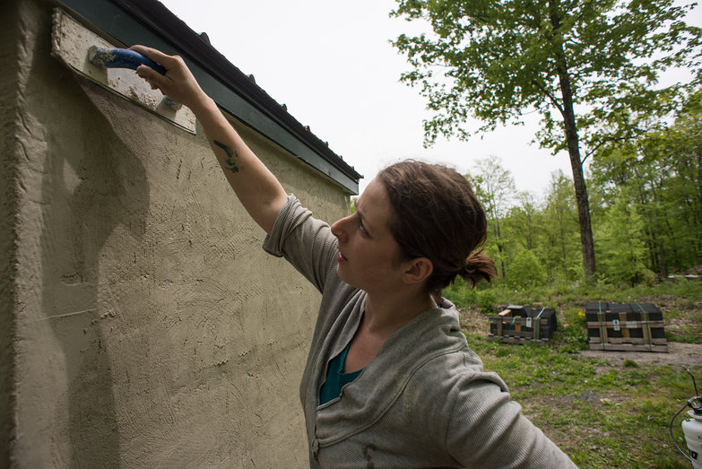 Tara Burnishing Plaster on Cistern Shed
