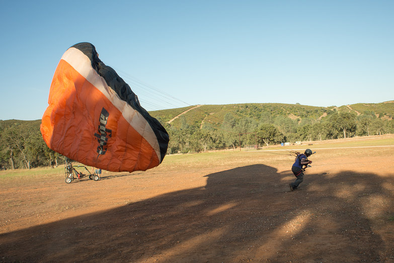 Tara with Paragliding Wing, Being Towed