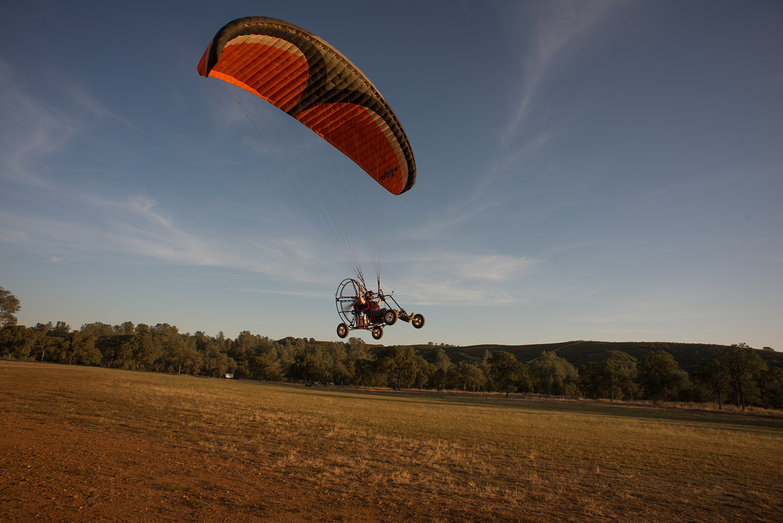 Tara Taking Off for First Flight (in LowBoy II Quad Paramotor)