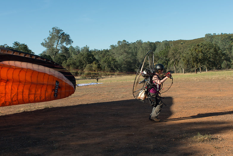 Tara Forwarding Launching Paraglider in No Wind