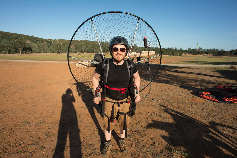 Tyler Wearing BlackHawk 125 Paramotor