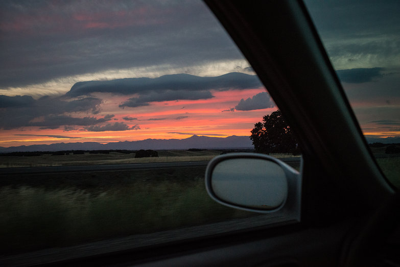 Sunset While Driving to Mount Shasta